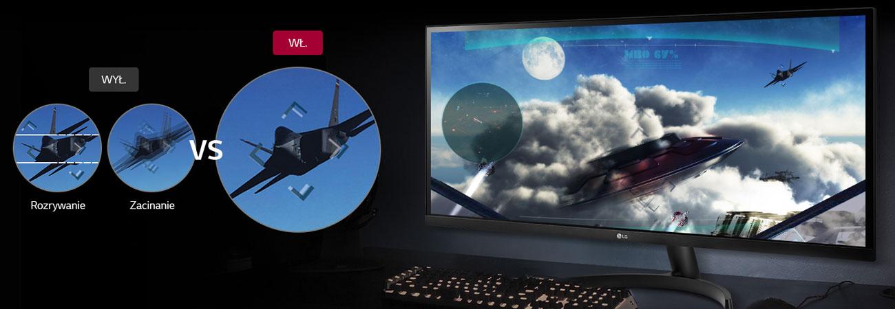 LG 34WK500-P Czystszy i płynniejszy obraz AMD FreeSync