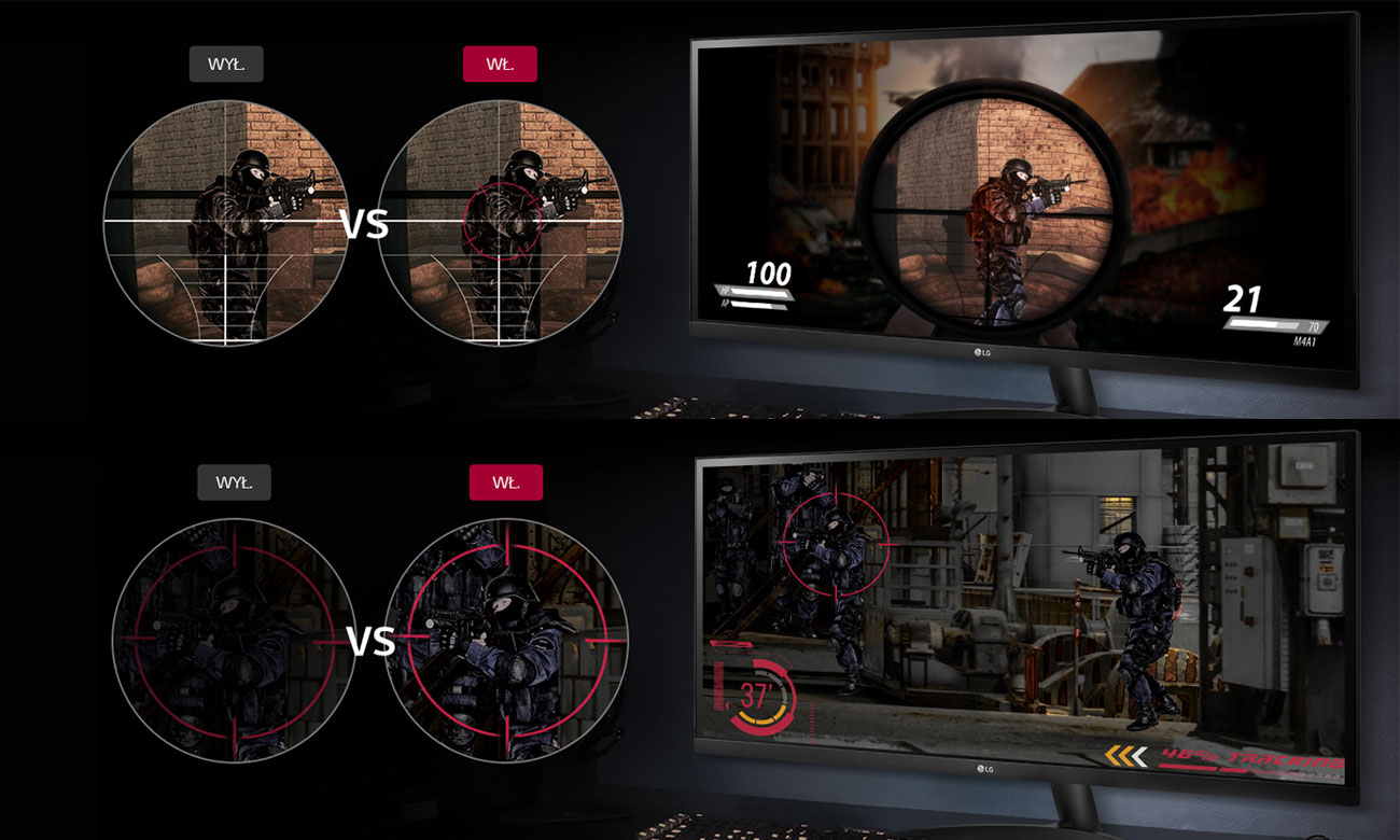 LG 34WK500-P Skuteczniejsze celowanie Widoczność nawet w ciemnych scenach