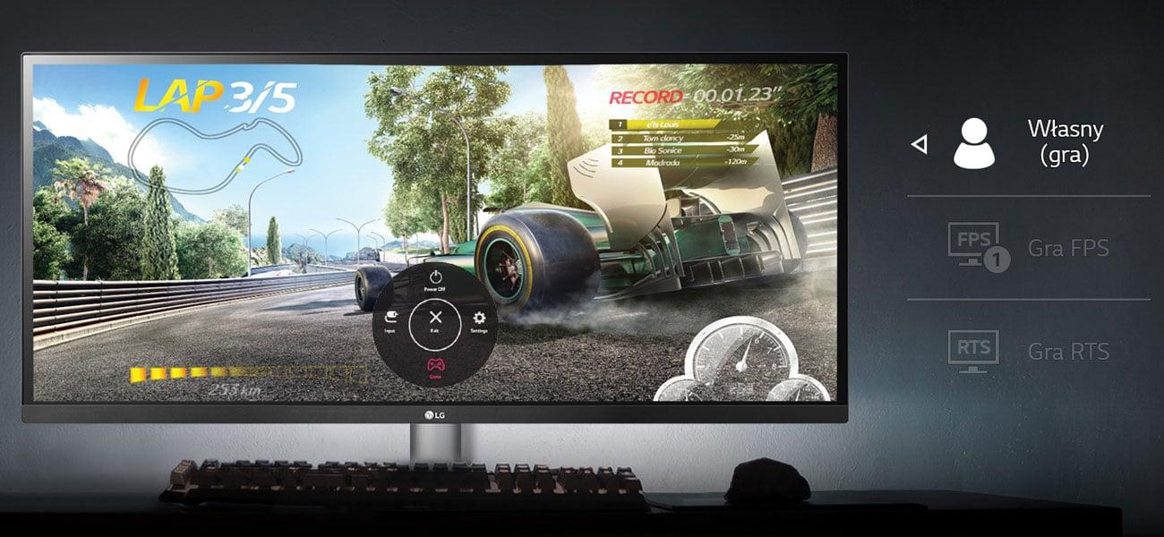 LG 34WK650-W Indywidualne ustawienia dla każdej gry Tryb Game Mode