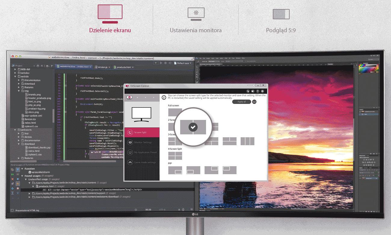 LG 38WK95C-W Łatwa konfiguracja ustawień obrazu OnScreen Control