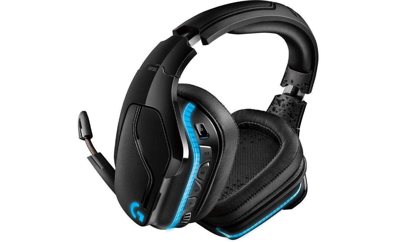 Aufladung über eine 2,4 GHz Verbindung bis zu 12 Stunden ohne Beleuchtung mit dem Kopfhörer LOGITECH Gaming G935 Over Ear Wireless Headset 981 000744