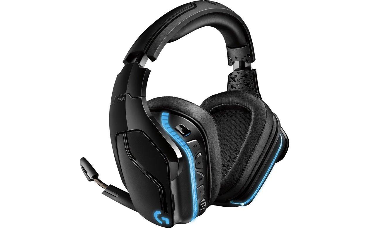 Kunstleder in den Ohrpolstern und dem Kopfbügel im Kopfhörer LOGITECH Gaming G935 Over Ear Wireless Headset 981 000744