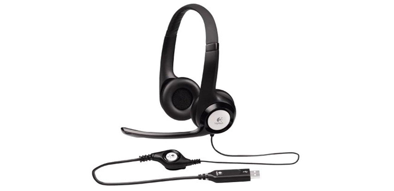 Logitech H390 Headset sterowanie regulacja pilot kabel