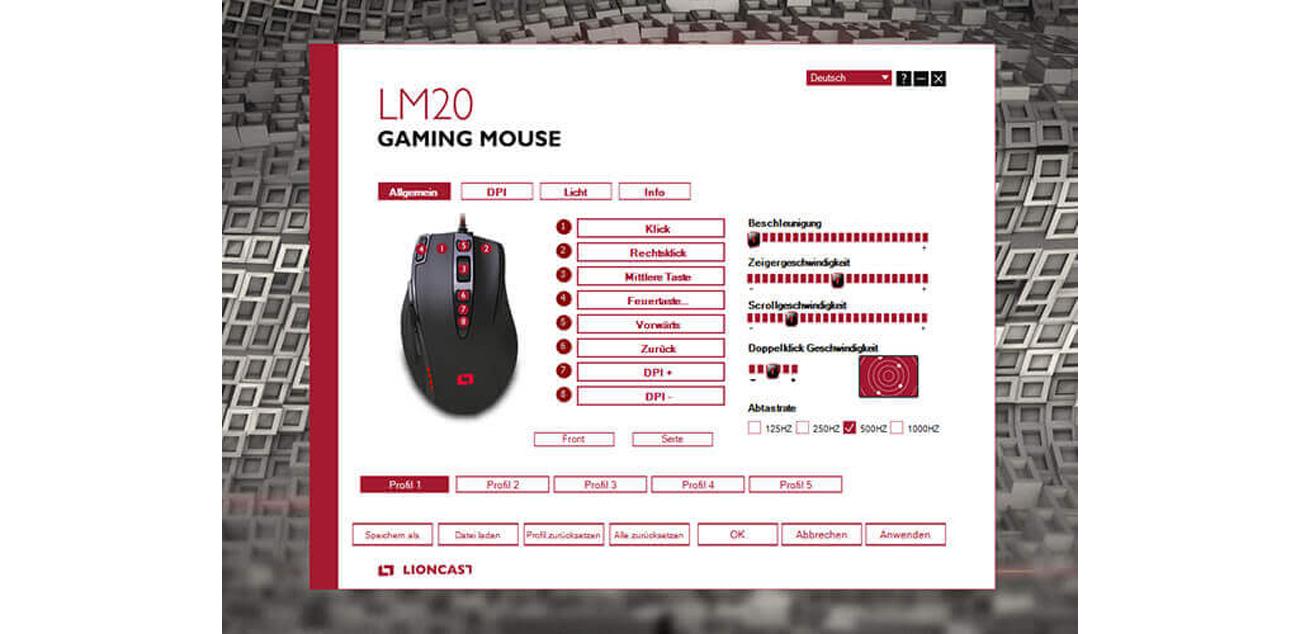 Lioncast LM20 Oprogramowanie