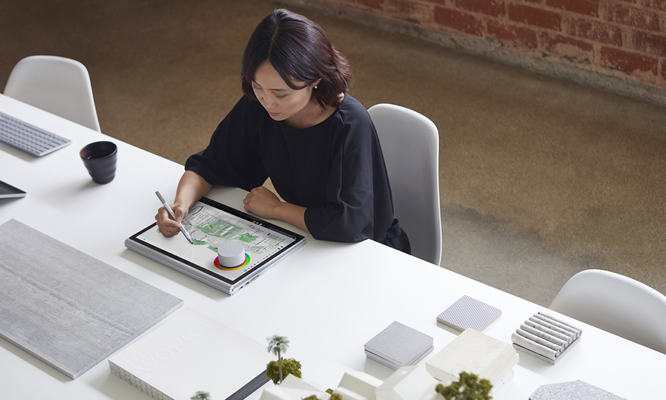 Microsoft Surface Dial Na ekranie Surface