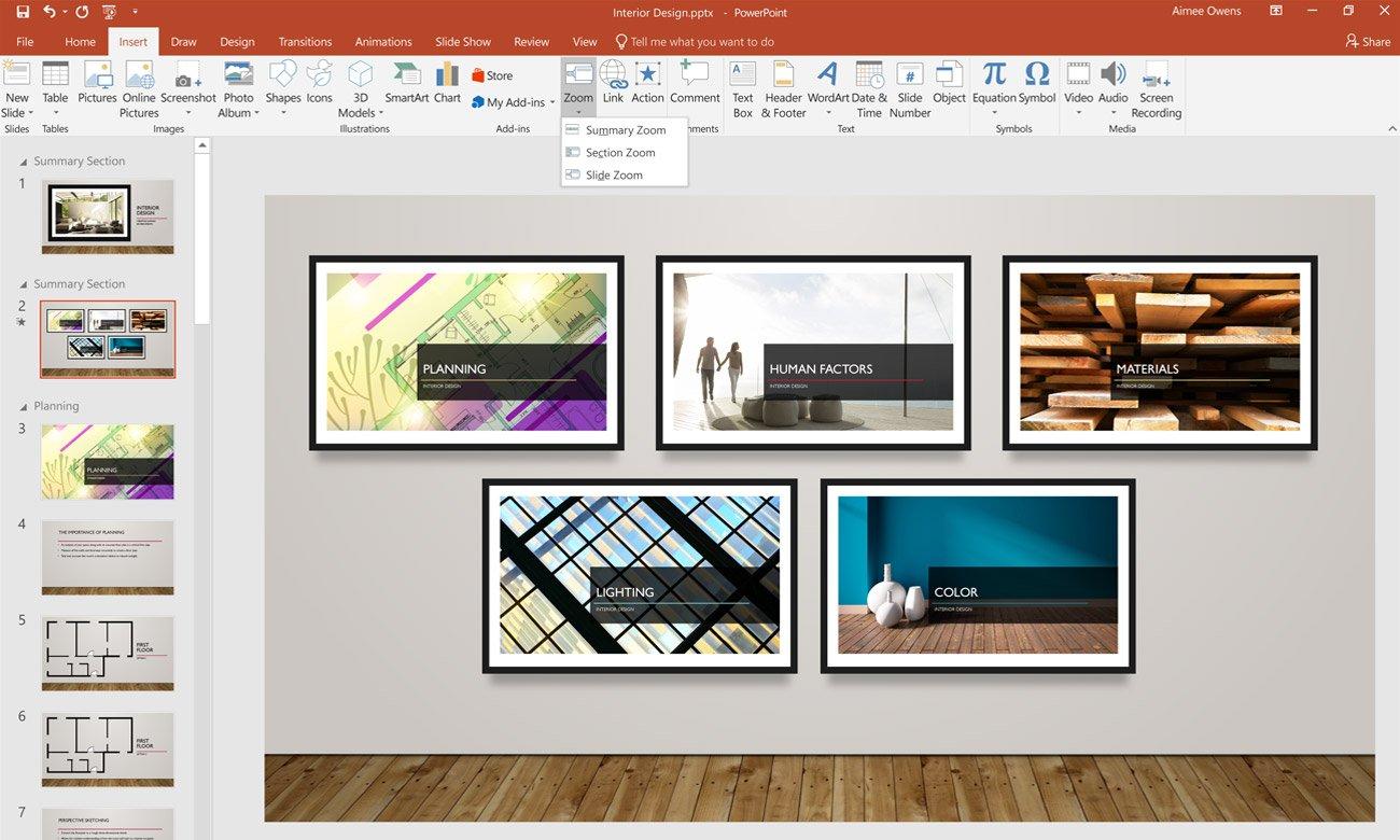 Office Home and Business 2019 Powiększenie z podsumowaniem w PowerPoint
