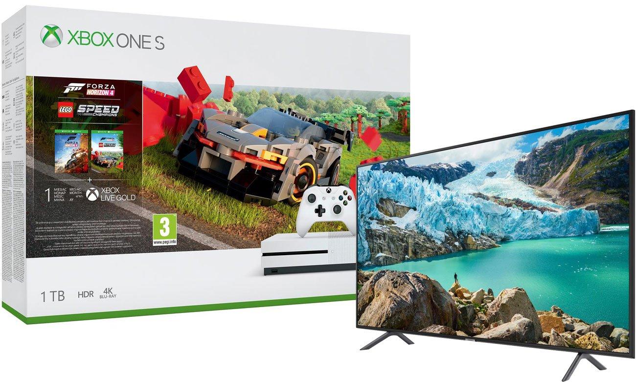 Zestaw Xbox One S + Forza Horizon 4 + dodatek LEGO Speed Champions + telewizor Samsung UE43RU7172
