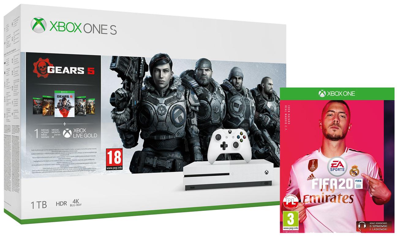 Zestaw Xbox One S + Gears 5 + FIFA 20