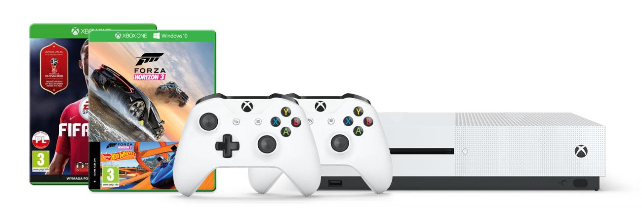 Zestaw Xbox One S i Forza Horizon 3 +HW +FIFA 18 +Pad