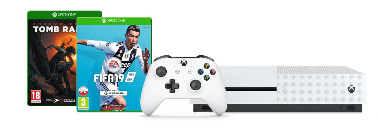 Zestaw Xbox One S i FIFA19 i SOTTR