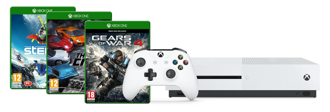 Zestaw Xbox One S + GoW4 + The Crew + Steep