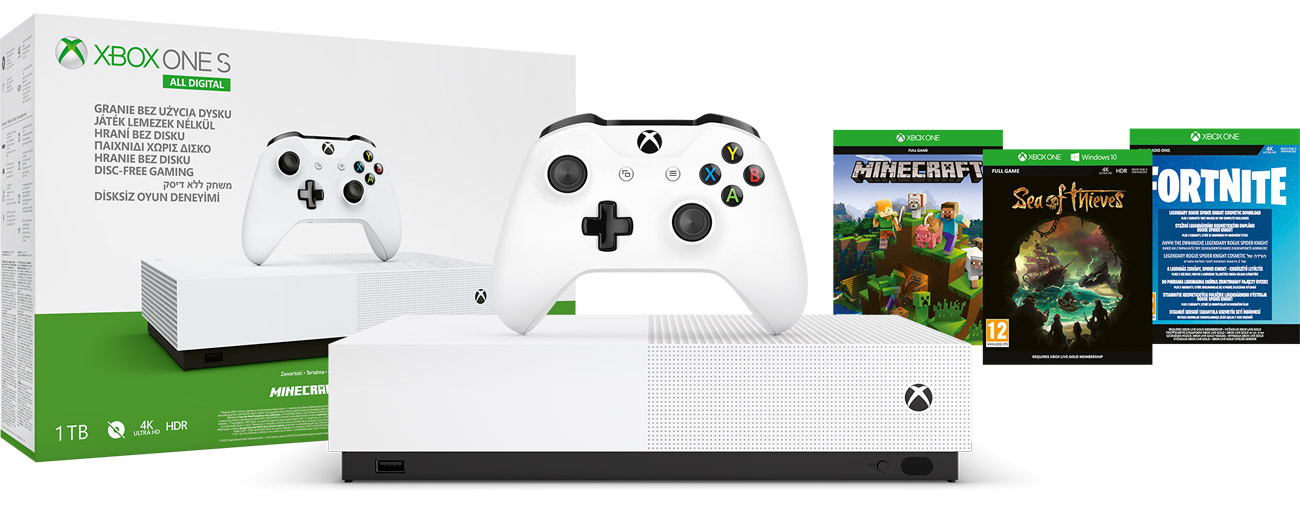 Konsola Xbox One All-Digital Edition 1 TB w zestawie z 3 grami