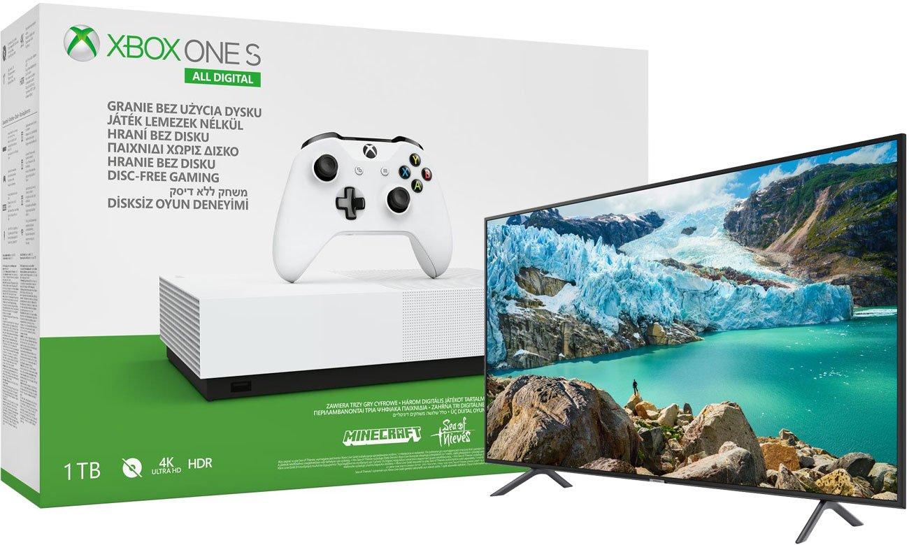 Konsola Xbox One All-Digital Edition 1 TB w zestawie z 3 grami + telewizor Samsung UE43RU7172
