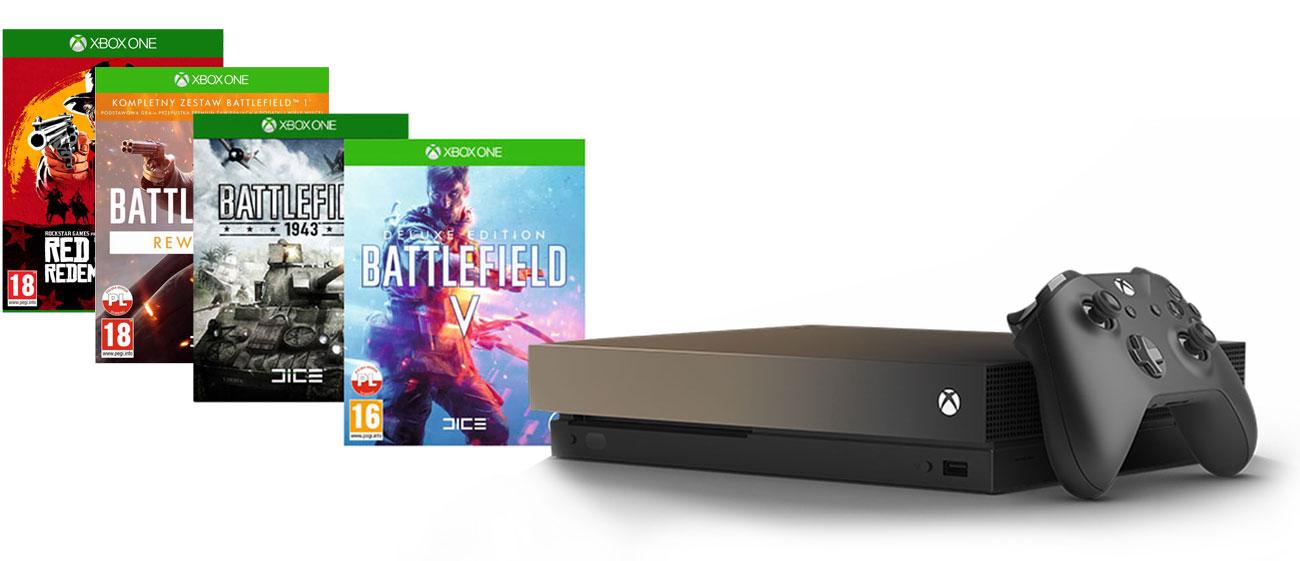 Zestaw Xbox One X Gold Rush i Battlefield V Deluxe Edition + Battlefield 1943 + Battlefield 1 Rewolucja + RDR 2