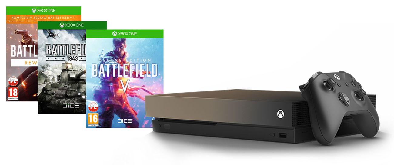 Zestaw Xbox One X Gold Rush i Battlefield V Deluxe Edition + Battlefield 1943 + Battlefield 1 Rewolucja