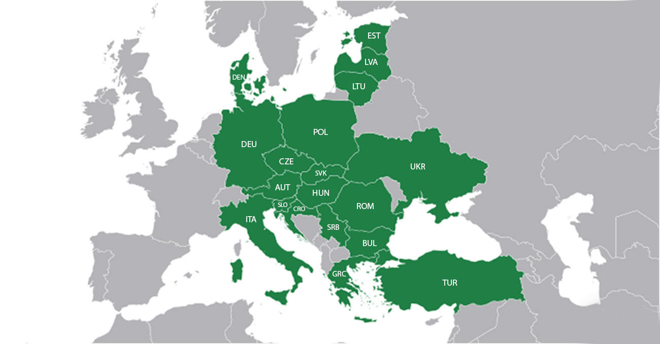 Mapa Europa Centralna