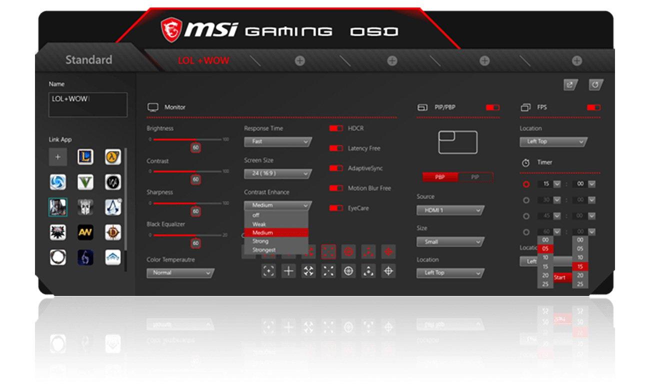MSI Optix MPG27C Aplikacja OSD