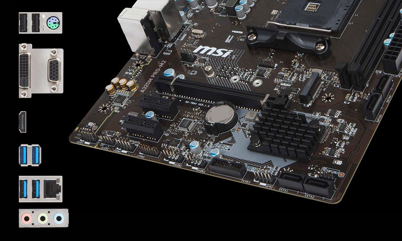 MSI A320M PRO-M2 Złącza M.2, USB