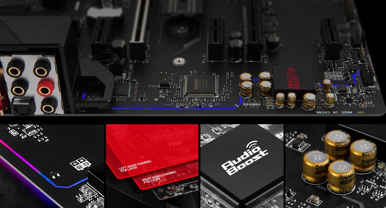 MSI B350 GAMING PRO CARBON Technologia Audio Boost