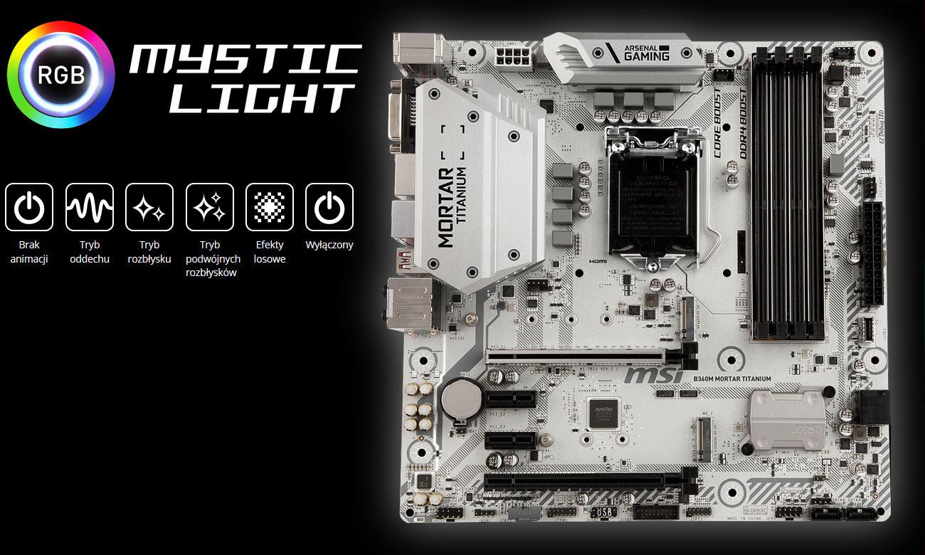 MSI B360M MORTAR TITANIUM Podświetlenie Mystic Light