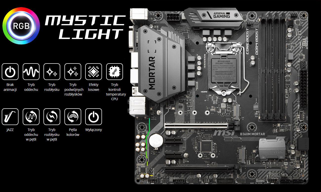 MSI B360M MORTAR Podświetlenie Mystic Light