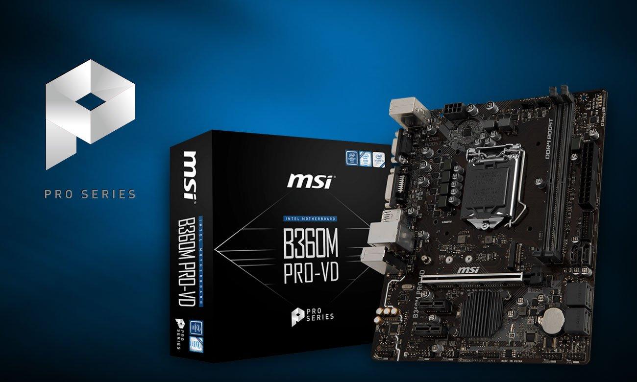 MSI B360M PRO-VD Połączenie jakości, wydajności oraz rozwiązań biznesowych