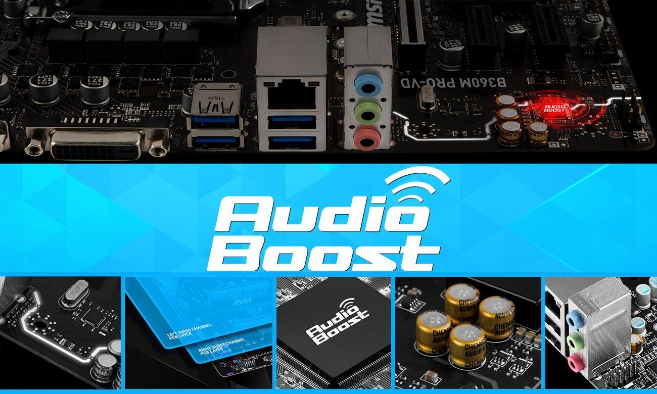 MSI B360M PRO-VD Profesjonalna jakość dźwięku Audio Boost