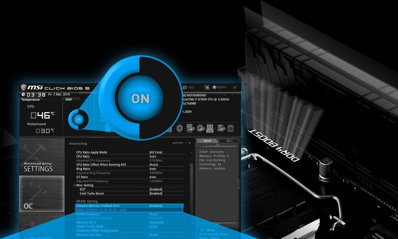 MSI B360M PRO-VD Niezrównana wydajność pamięci, Funkcja Easy XMP