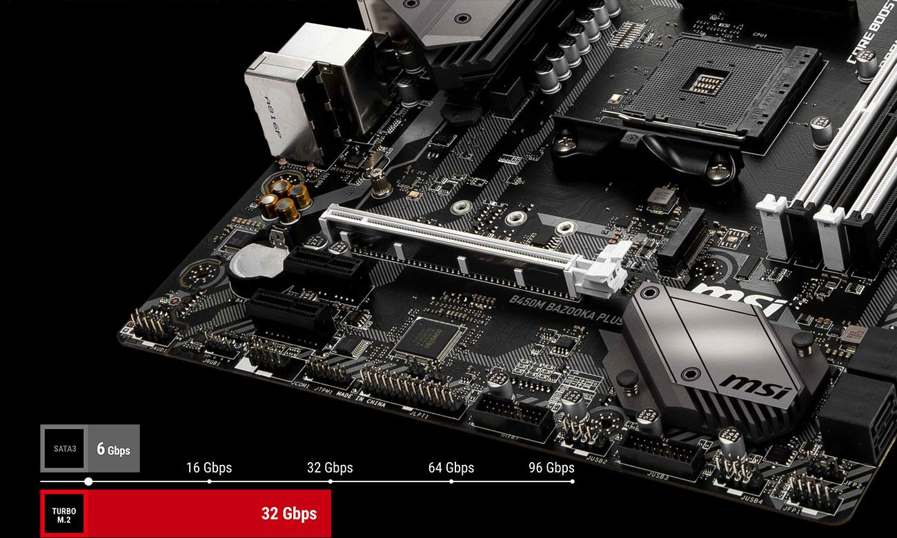 MSI B450M Bazooka Plus Technologia AMD Storemi i złącze Turbo M.2