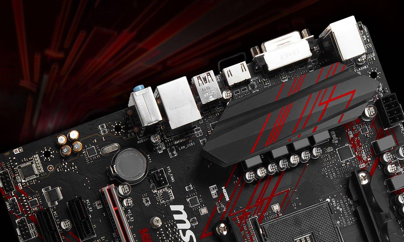 MSI B450M Gaming Plus Wzmocniona konstrukcja, większe bezpieczeństwo