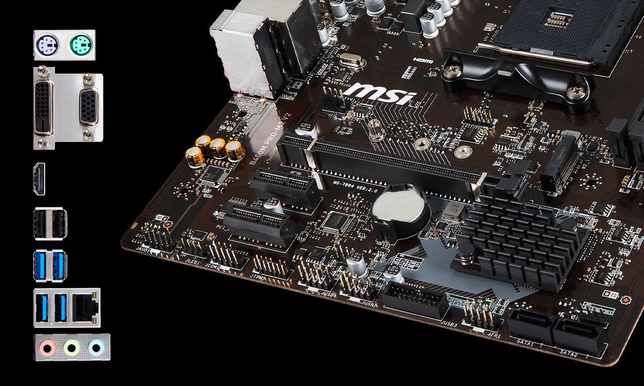MSI B450M PRO-M2 v2 Złącza