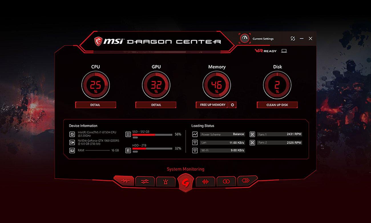 MSI GF63 8RC Aplikacja Dragon Center 2.0