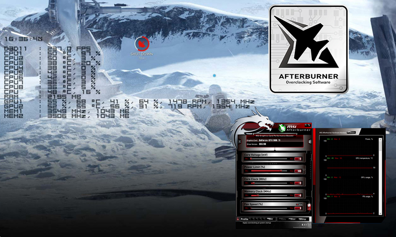 Aplikácia MSI Afterburner