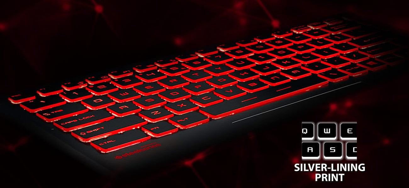MSI GV62 8RE Gamingowa klawiatura firmy SteelSeries, Podświetlenie Silver Lining Print