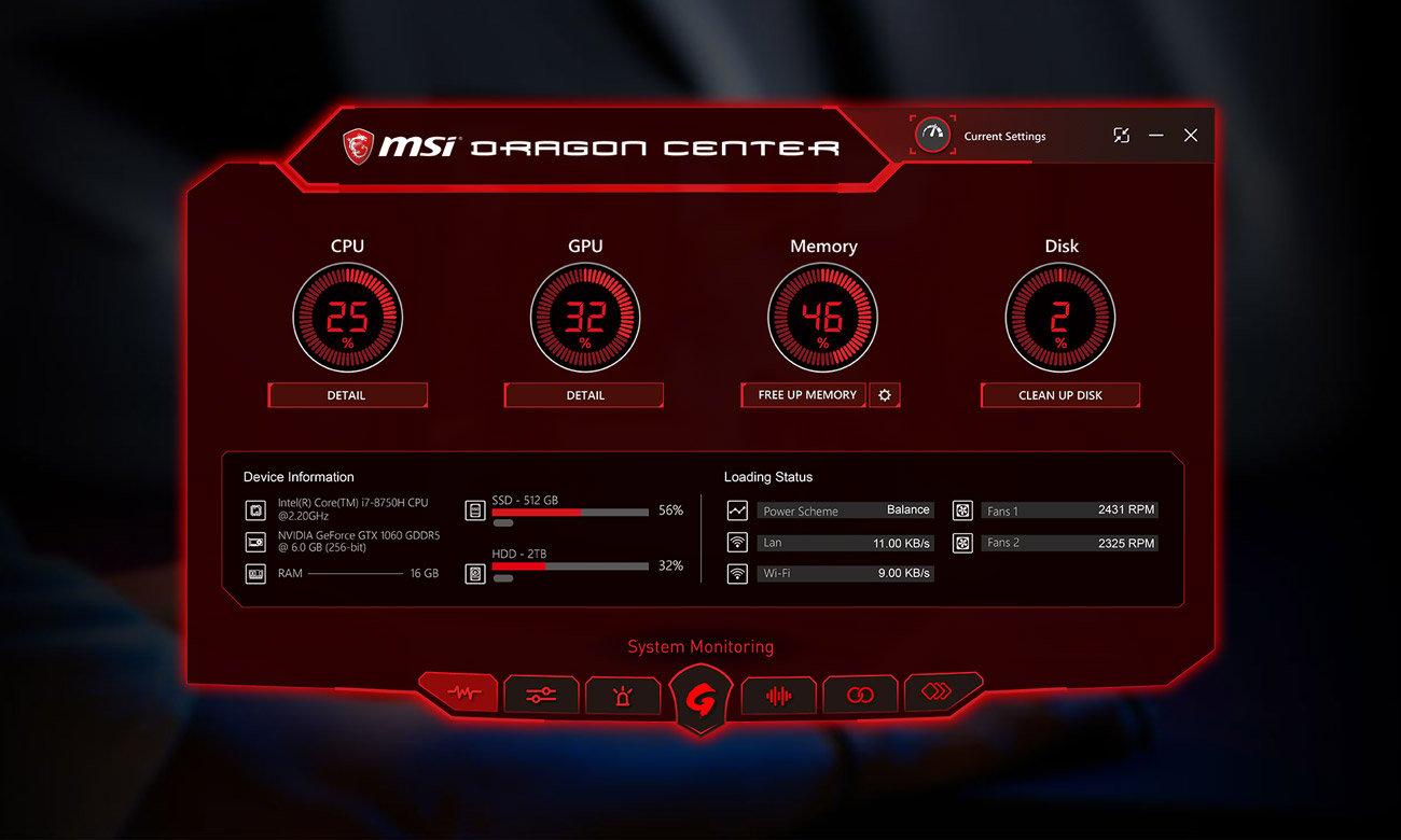 MSI GV72 8RC Dragon Center 2.0