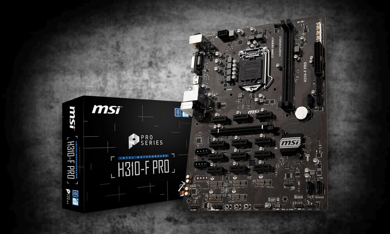 MSI H310-F PRO Zoptymalizowana pod kątem wydobywania kryptowalut