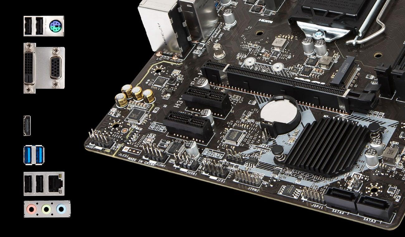 MSI H310M PRO-M2 PLUS Złącza zewnętrzne