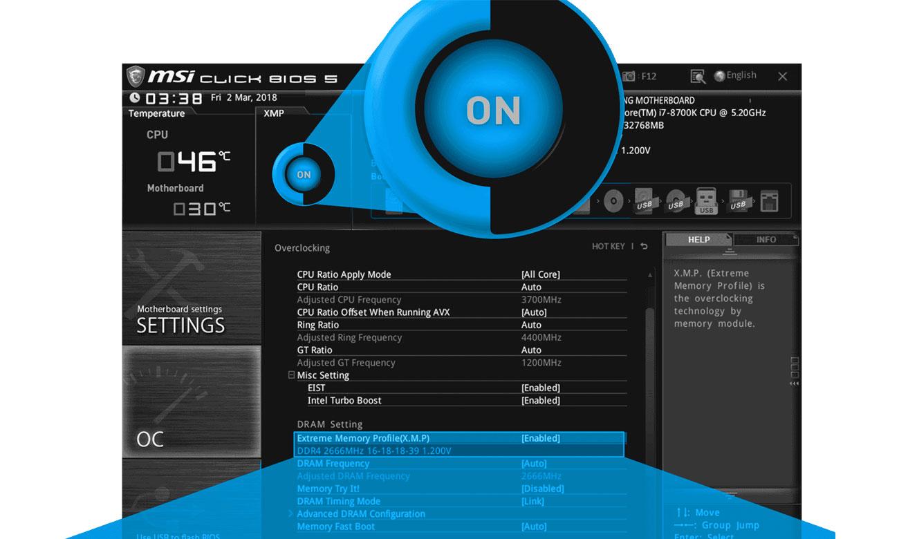 MSI H310M PRO-VL Funkcja Easy XMP