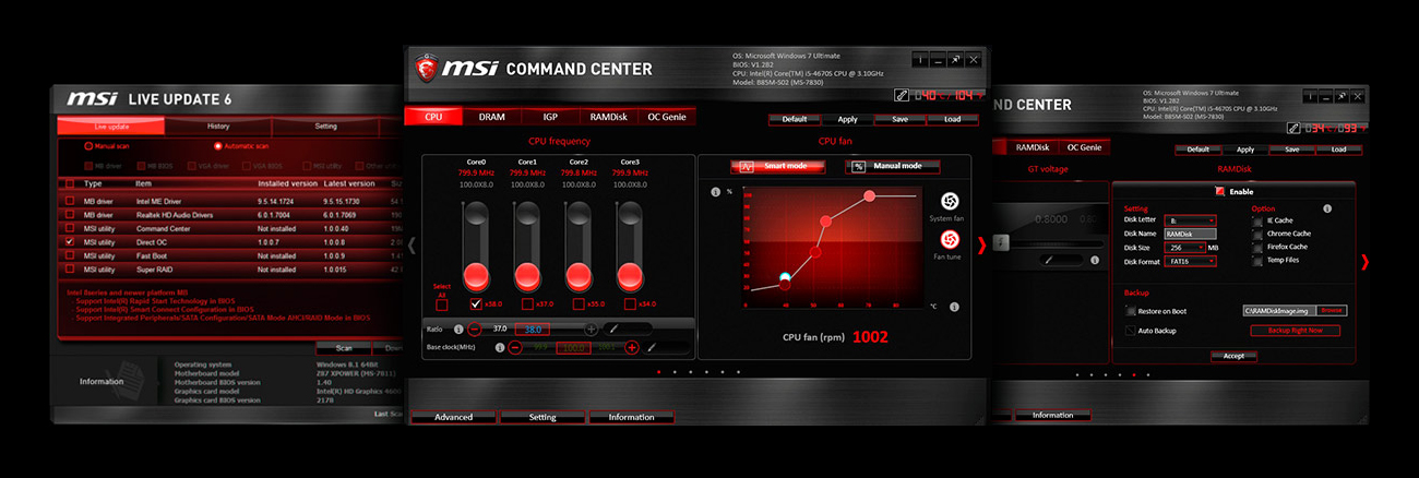 MSI H97 GAMING 3 Live Update 6 Command Center RAMDisk