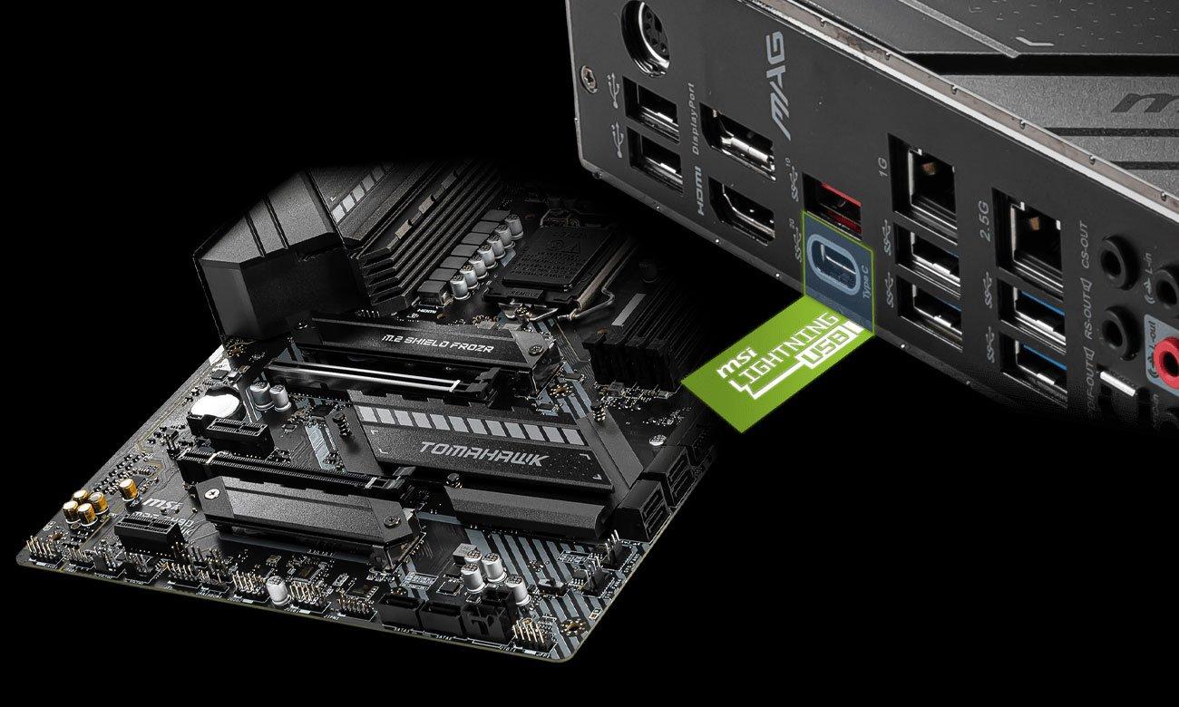 MSI MAG Z490 TOMAHAWK - Złącza M.2, USB