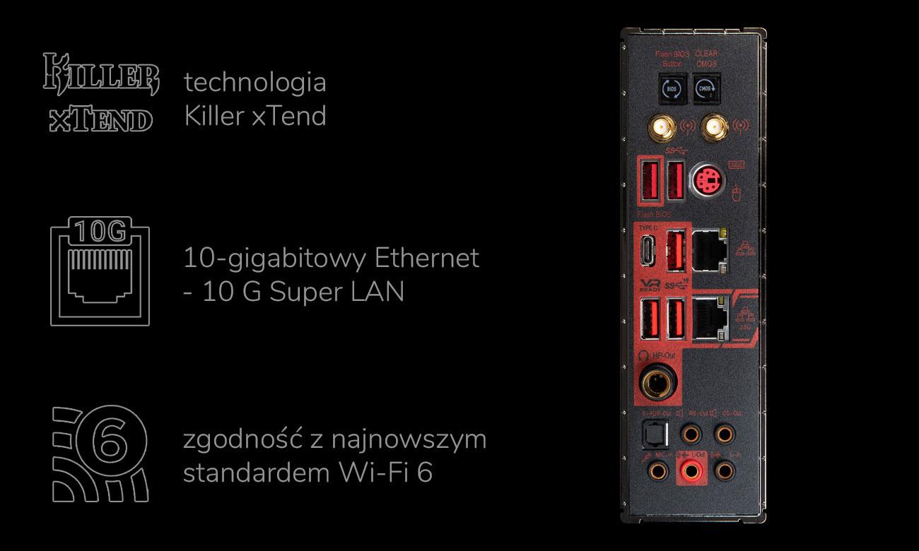 MSI MEG X570 GODLIKE - Sieć, złącza