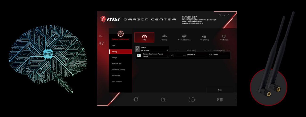 MSI MPG Z390 GAMING EDGE AC Zwiększaj swoją przewagę w sieci