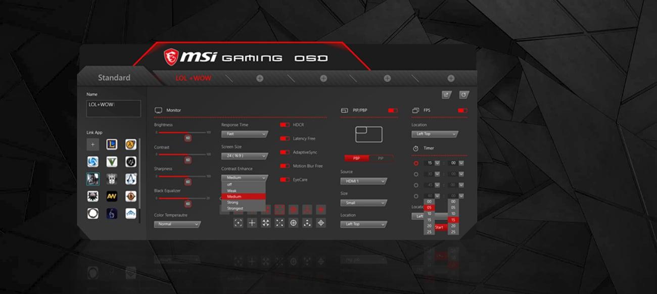 Monitor MSI Optix MAG241C aplikacja Gaming OSD APP konfiguracja monitora