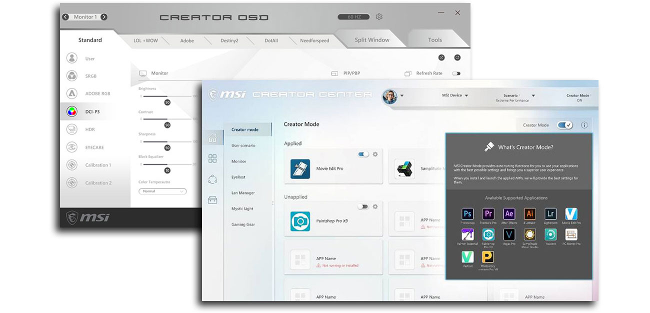 MSI Creator Center i Creator OSD