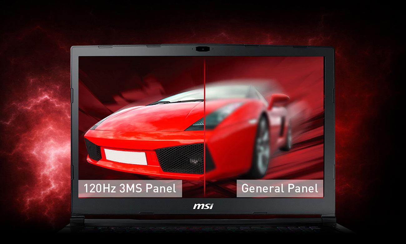 MSI GE63 Raider RGB 8RE 120-hercowy wyświetlacz o czasie reakcji 3 ms