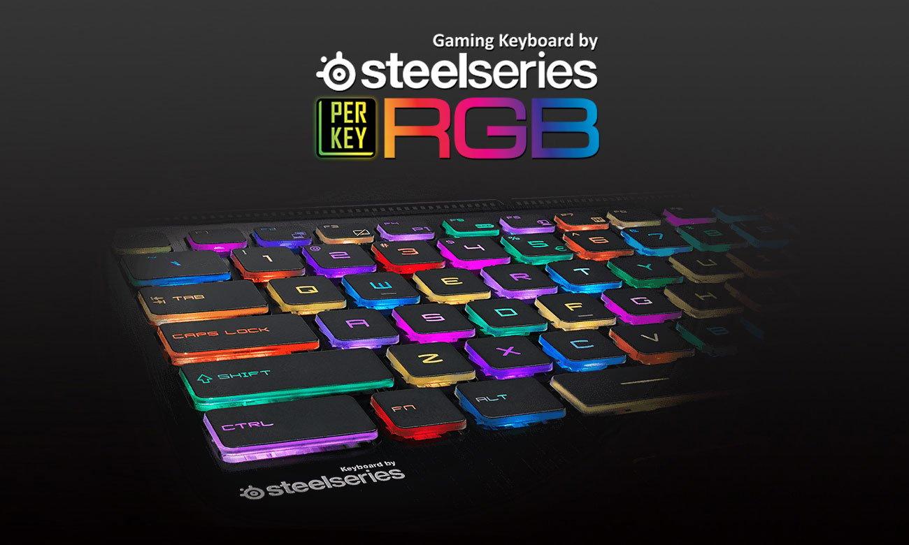 MSI Stealth GS73 8RE Klawiatura SteelSeries z indywidualnie podświetlanymi klawiszami