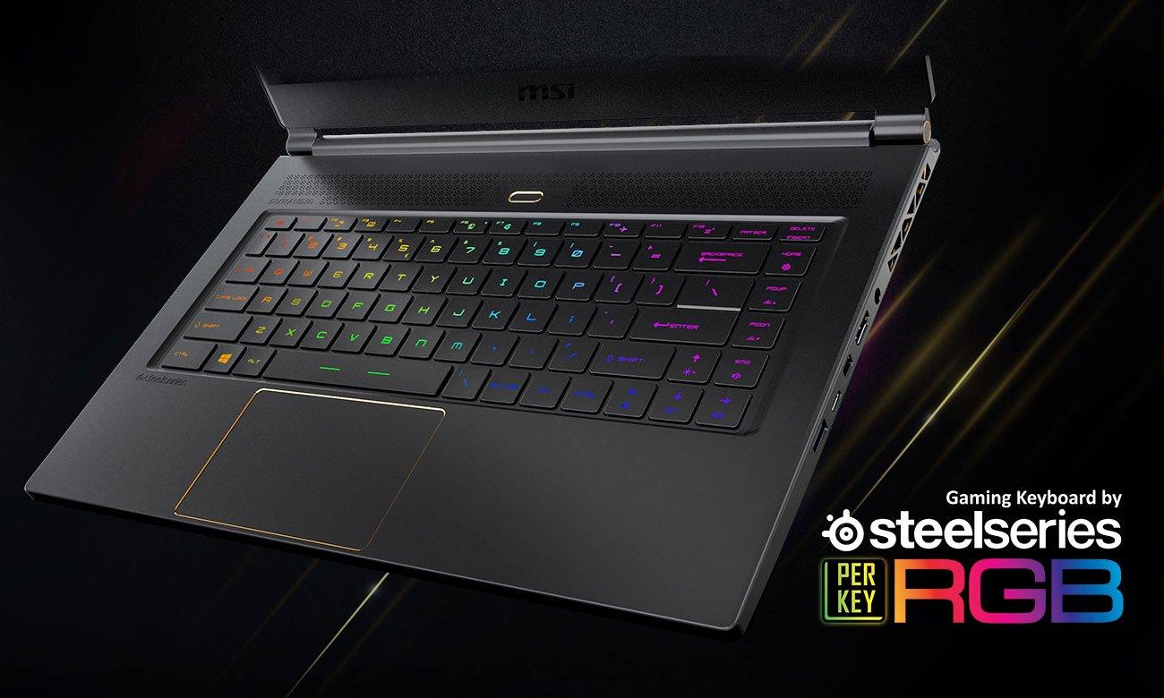 MSI GS65 Stealth Thin 8RE Klawiatura SteelSeries z indywidualnym podświetleniem klawiszy