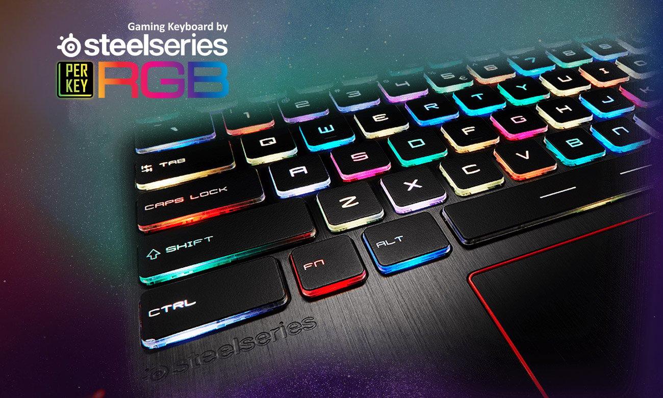 MSI GT63 Titan 8RF Klawiatura SteelSeries, osobno podświetlane klawisze RGB, anty-ghosting