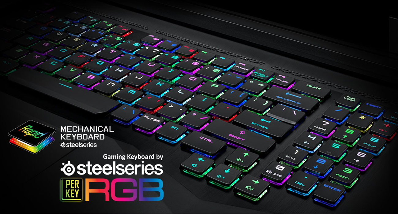 MSI Titan GT75 8RF Błyskawicznie działająca mechaniczna klawiatura SteelSeries