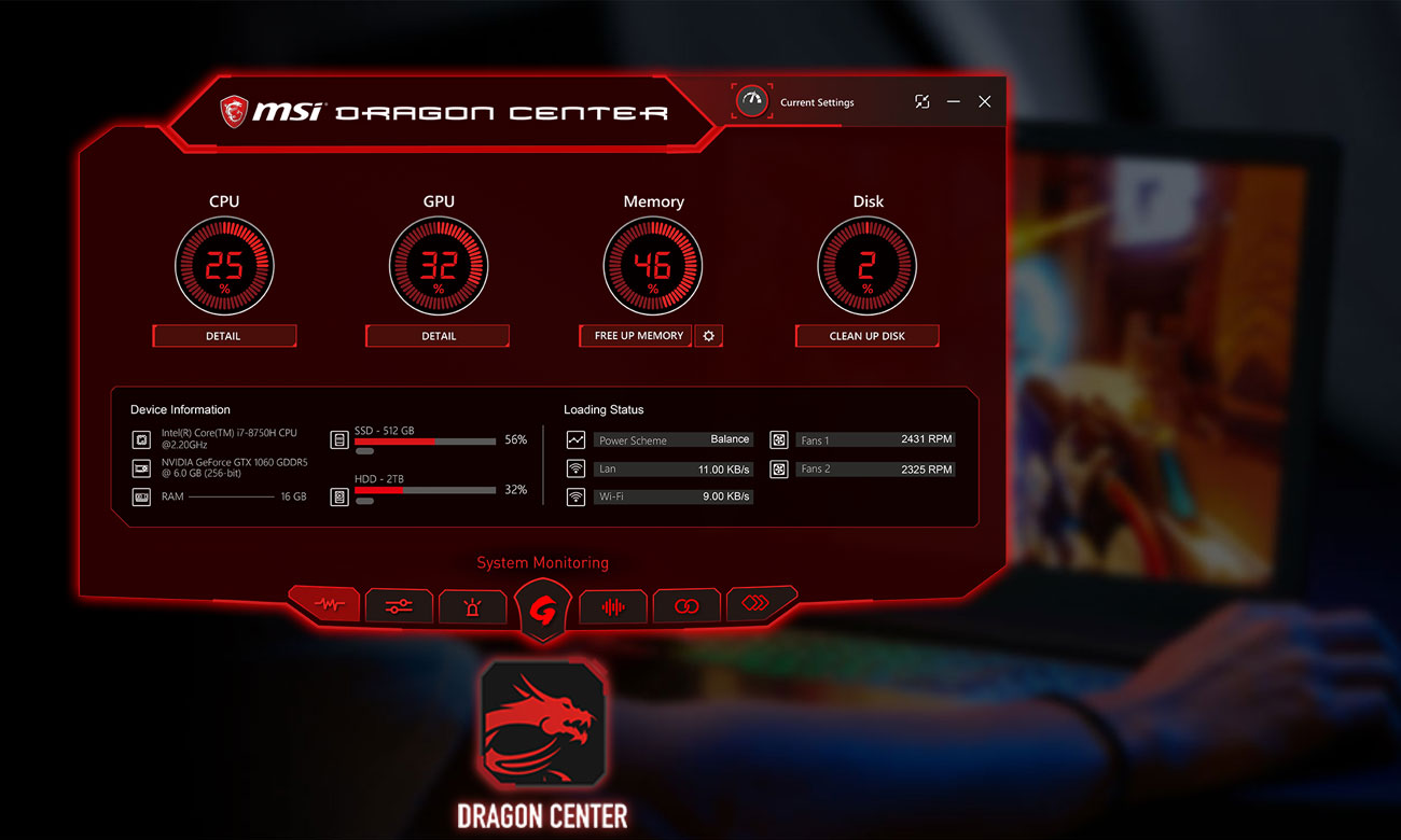 MSI Titan GT75 8RF Dragon Center 2.0